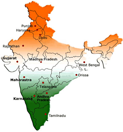 Map of India displaying different branches of CCI